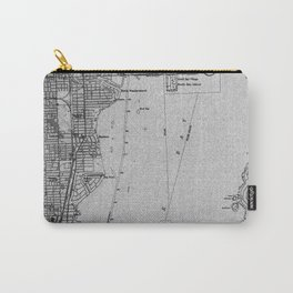 14-Miami Florida 1950 old vintage gray map Carry-All Pouch