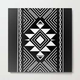 Aztec boho ethnic black and white Metal Print
