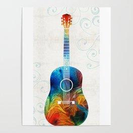 Colorful Guitar Art by Sharon Cummings Poster