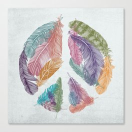 Feathers for Peace (Peace Sign) Canvas Print