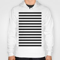 stripes Hoodies featuring Horizontal Stripes (Black/White) by 10813 Apparel