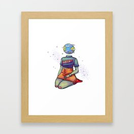 Space Head: Earth Framed Art Print