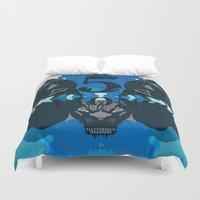 lions Duvet Covers featuring Five Lions by Illustrious Warriors