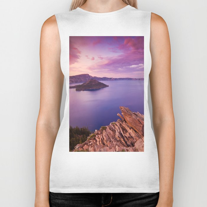Crater Lake Sunset Biker Tank