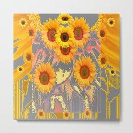 MODERN ART YELLOW SUNFLOWERS  GREY ABSTRACT Metal Print