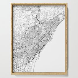 Barcelona White Map Serving Tray