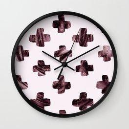 Rosewood velvet gem - scandinavian cross Wall Clock