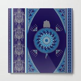 Water Turtle Blue Metal Print