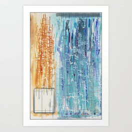 The city was distant and obscured by rain. Art Print