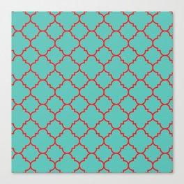 Quatrefoil - Turquoise & Red Canvas Print