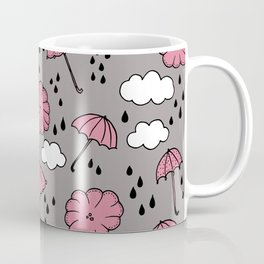 Blue umbrella sky rainy day abstract fall illustration pattern pink Coffee Mug