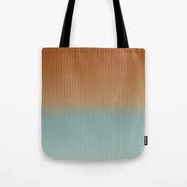 Light Rust and Turquoise Graphic Herringbone Weave Pattern Tote Bag