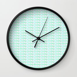 White hen on blue sky Wall Clock