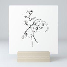 Sheep Skull and Roses Original Illustration Mini Art Print