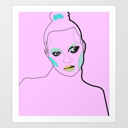 Kate in Bubblegum Pink   Art Print