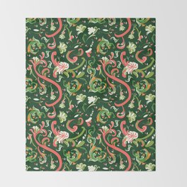 Swirly Trendy_Green Throw Blanket