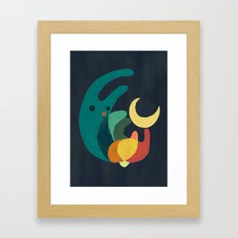 Rabbit and crescent moon Framed Art Print