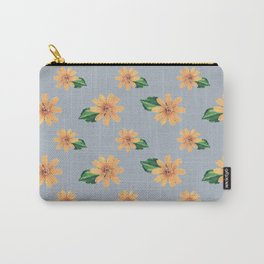 Yellow Flowers Gray Pattern Carry-All Pouch