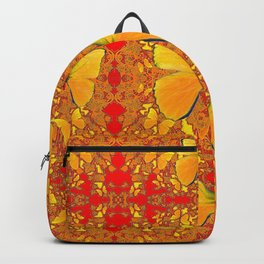 GOLDEN YELLOW BUTTERFLIES RED PATTERN ABSTRACT Backpack