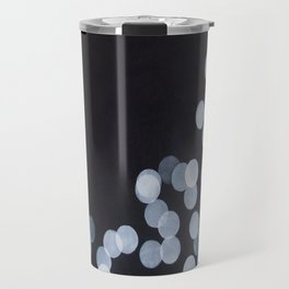 No. 44 - Print of Bokeh Inspired Black and White Modern Abstract Painting Travel Mug