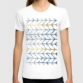 Indigo Gold Herringbone Pattern T-shirt