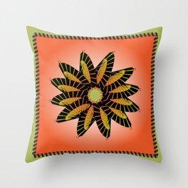 Orange Stitched Flower Throw Pillow