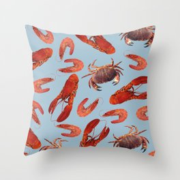 Lobster - Crab - Shrimps blue background Throw Pillow