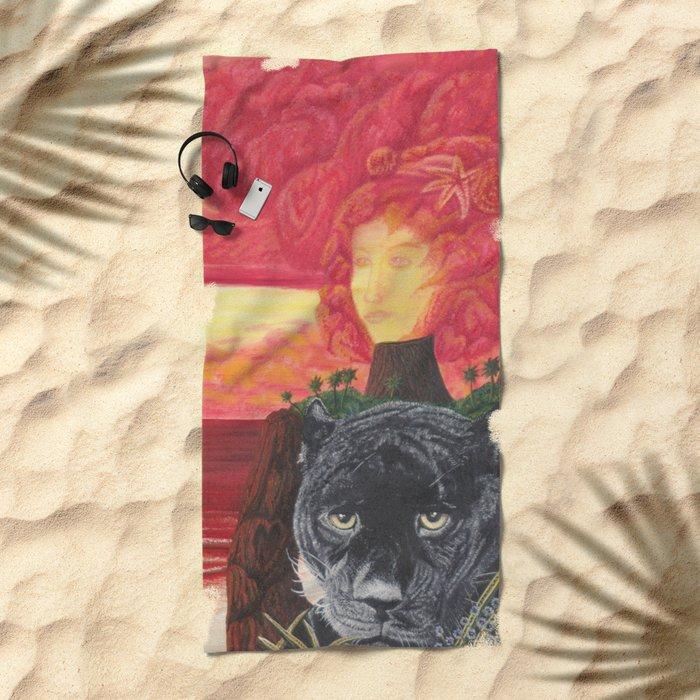 L'amour en éruption Beach Towel