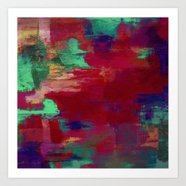 Crimson Overflow - Abstract, red, crimson, green, purple oil painting Art Print
