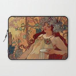 1896 AUTUMN Fall - 4 Seasons Alphonse Mucha Art Nouveau Goddess Vintage Lithograph French AUTOMNE Beauty Nature Art Wall Hanging Decor Print Laptop Sleeve