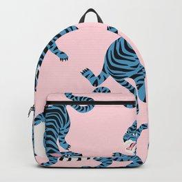 Pastel Pink & Blue Tiger Pattern Backpack