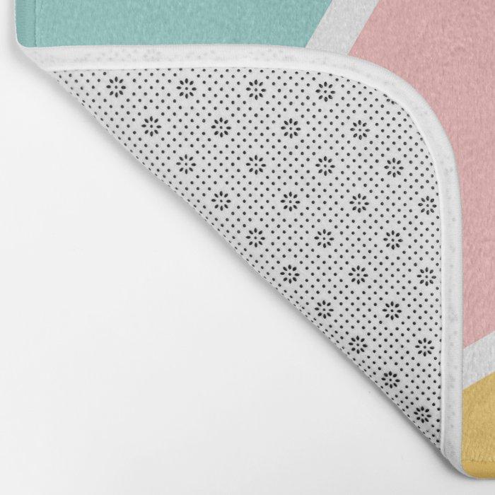 Tropical summer pastel pink turquoise yellow color block geometric pattern Bath Mat