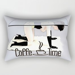 Coffe Time! In dirty BDSM style, funny erotic, kinky cartoon coffee banner Rectangular Pillow