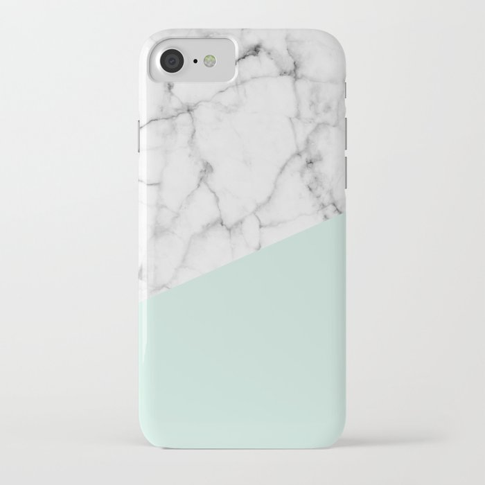 Real White marble Half pastel Mint Green iPhone Case