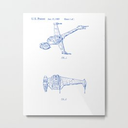 Toy Spacecraft Vintage Patent Hand Drawing Metal Print