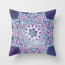 Blueberry Sorbet Mandala Throw Pillow