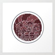 Round Houses in Maroon Art Print