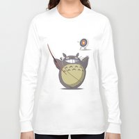archer Long Sleeve T-shirts featuring Totoro Archer by Gianluca Armeni