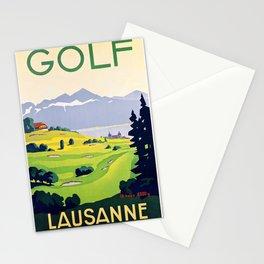 Swiss vintage travel poster Golf Lausanne Switzerland Stationery Cards