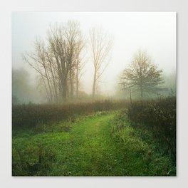 Beautiful Morning - Autumn Field in Fog Canvas Print