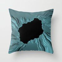 infamous Throw Pillows featuring infamous black hole, FRACTALS by ACKelly