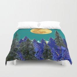 BLUE FOREST TEAL SKY MOON LANDSCAPE ART Duvet Cover