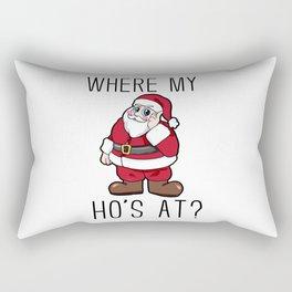 where are my hos at Santa Claus Christmas Rectangular Pillow