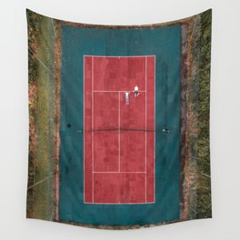 Tennis court, view of drone Wall Tapestry