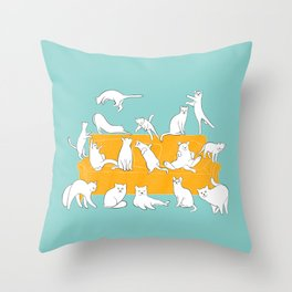 Cute Cats on Yellow Couch | Blue Throw Pillow