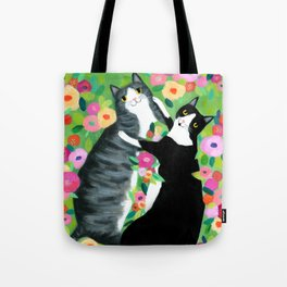 lovebirds CATS in flower garden painting by TASCHA Tote Bag