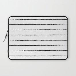 Minimal Simple White Background Black Lines Stripes Laptop Sleeve