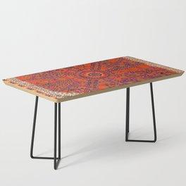Orange Wildflower Sunshine II // 18th Century Colorful Rusty Red Bright Blue Metallic Happy Pattern Coffee Table