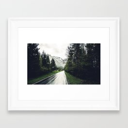 Down the Road - Mountains, Forest, Austria Framed Art Print