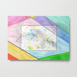 Colorful feather line work Metal Print